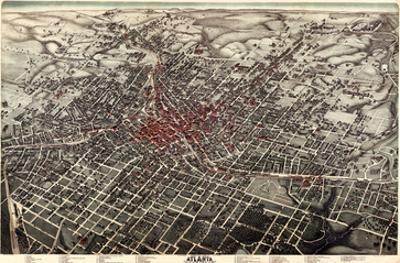 1892, Atlanta Bird's Eye View, Georgia, United States