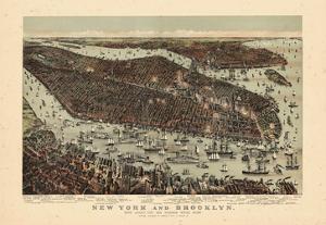 1892, New York City 1892 Bird's Eye View 24x33, New York, United States