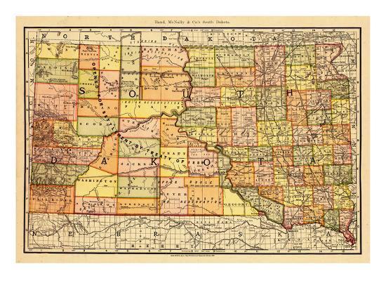 1892, South Dakota State Map, South Dakota, United States Giclee ...