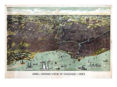 1893, Chicago Bird's Eye View, Illinois, United States--Giclee Print