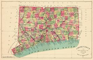 1893, Connecticut State Map, Connecticut, United States