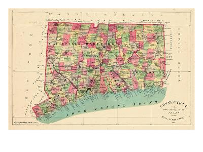 1893, Connecticut State Map, Connecticut, United States--Giclee Print