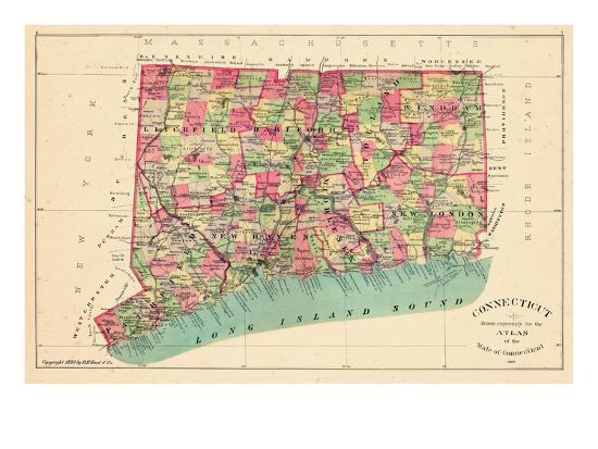 1893 Connecticut State Map Connecticut United States Giclee Print - Us-map-connecticut