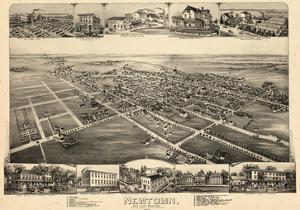 1893, Newtown, Bird's Eye View, Pennsylvania, United States