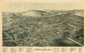 1894, Cortland 1894 Bird's Eye View, New York, United States