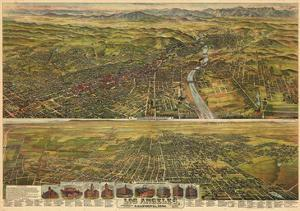 1894, Los Angeles, Drawn and Lithographed by B.W. Pierece, 1894, California, United States