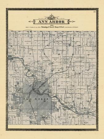 Washtenaw County; Antique Birdseye Map; 1880 Michigan Ann Arbor