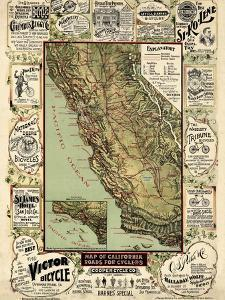 1895, California State Map Roads for Cyclers, bicycling, California, United States