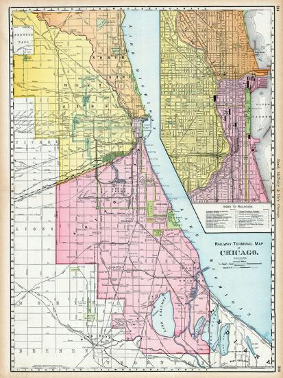 1895, Chicago Railroad Terminal Map 1895, Illinois, United States Giclee  Print by | Art com