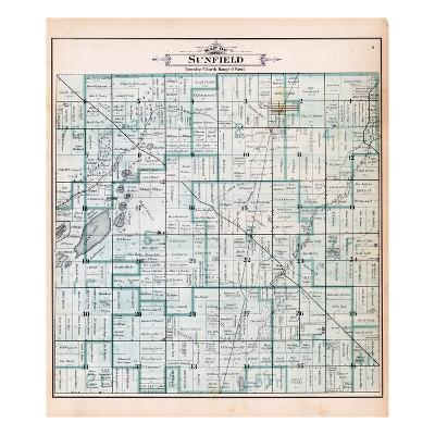 1895, Sunfield Township, Sobby Lake, Round Lake, Saddleback Lake, Tamerack Lake, Michigan, United S--Giclee Print