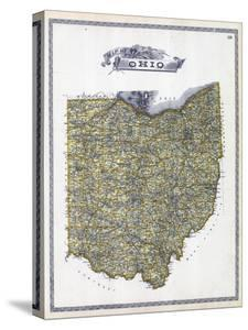 1896, Ohio State Map, Ohio, United States