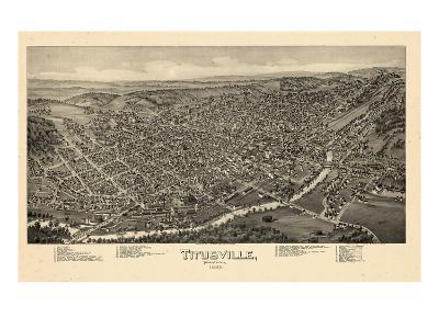 1896, Titusville Bird's Eye View, Pennsylvania, United States--Giclee Print