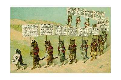 1897 Calendar with Parading Cats--Giclee Print