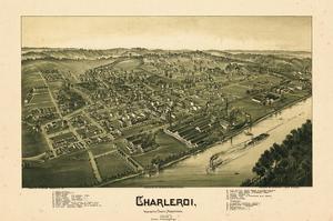 1897, Charleroi Bird's Eye View, Pennsylvania, United States