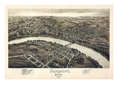 1897, Fairmont and Palatine Bird's Eye View, West Virginia, United States--Giclee Print