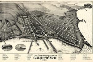1897, Marquette Bird's Eye View, Michigan, United States