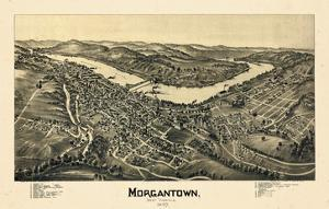 1897, Morgantown Bird's Eye View, West Virginia, United States