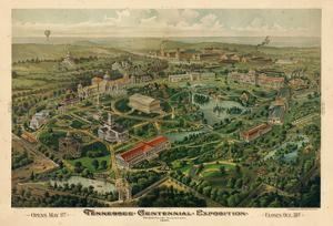 1897, Nashville Bird's Eye View of Centennial Exposition 17x24, Tennessee, United States