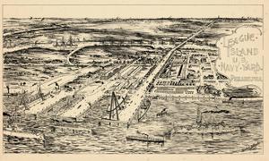 1897, Philadelphia Naval Shipyard Bird's Eye View, Pennsylvania, United States