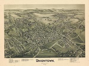 1897, Uniontown Bird's Eye View, Pennsylvania, United States