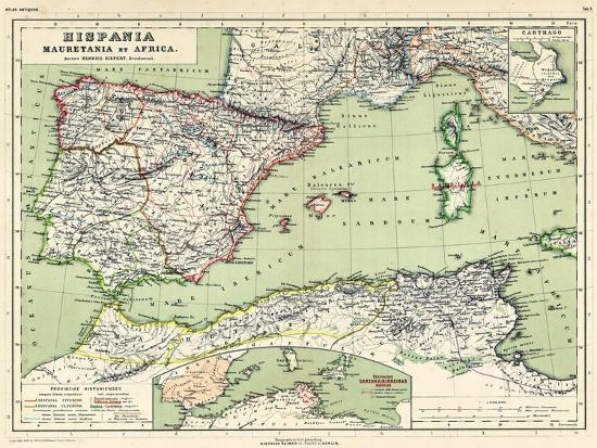 Map Of Spain And France And Portugal.1898 500 Bc Algeria Libya Morocco Tunisia France Portugal