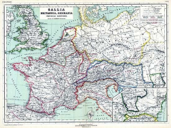 Map Of England France And Italy.1898 500 Bc United Kingdom France Italy Europe Gallia Britannia Germania Giclee Print By Art Com