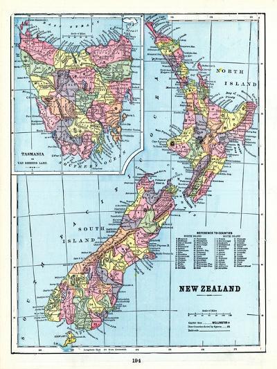 1898, New Zealand, Tansania, New Zealand and Tasmania--Giclee Print
