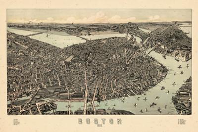 1899, Boston Bird's Eye View, Massachusetts, United States