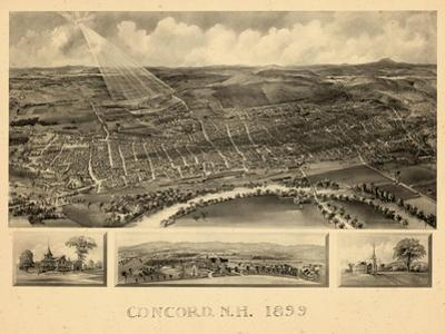 1899, Concord Bird's Eye View, New Hampshire, United States