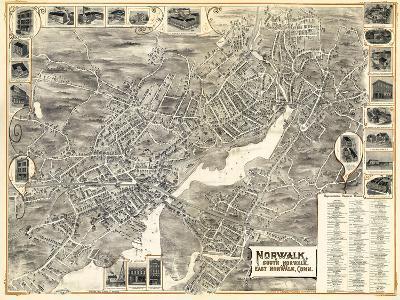 1899, Norwalk, Bird's Eye View, Connecticut, United States--Giclee Print