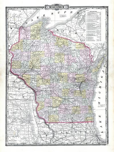 1899, State Map, Wisconsin, United States--Giclee Print