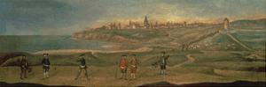 Military Players, with a View of St. Andrews from the Old Course by 18th Century School