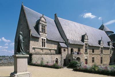 (18th Century) with Square and Statue, La Sarthe, Pays De La Loire, France--Giclee Print