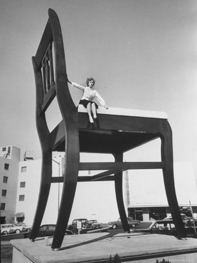 19 Ft. Chair Being Used as an Advertising Stunt-Ed Clark-Photographic Print
