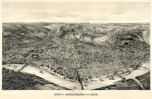 1900, Cincinnati Bird's Eye View, Ohio, United States
