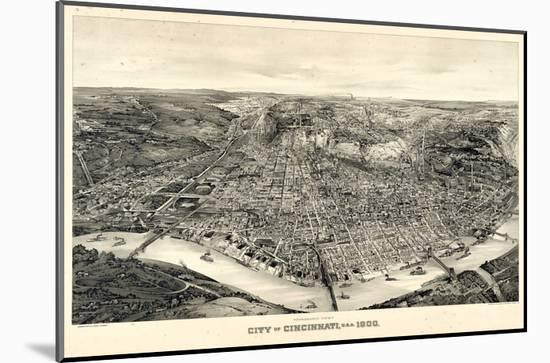 1900, Cincinnati Bird's Eye View, Ohio, United States--Mounted Giclee Print