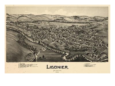 1900, Ligonier Bird's Eye View, Pennsylvania, United States--Giclee Print