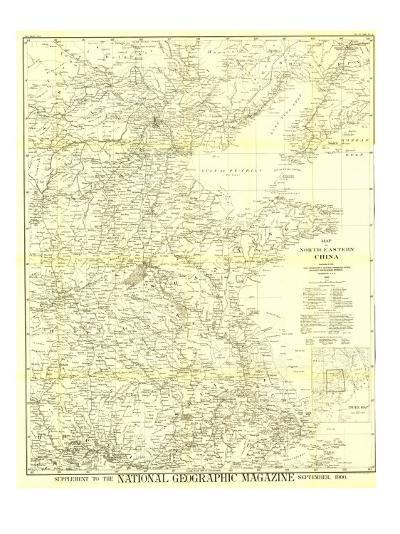 National Geographic Map Of China.1900 Map Of North Eastern China Art Print By National Geographic