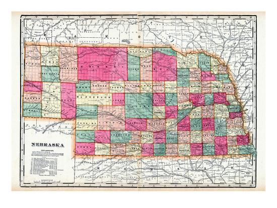 1900 State Map Nebraska United States Giclee Print By Artcom - Us-map-nebraska-state