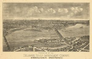 1900, Trenton Bird's Eye View, New Jersey, United States