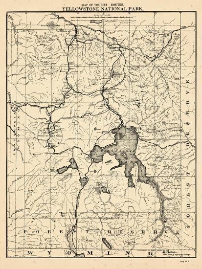 1900, Yellowstone National Park Tourist Map, Wyoming, United States ...