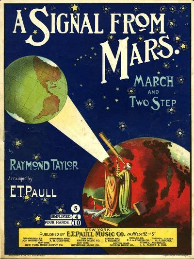 1900s USA A Signal From Mars Sheet Music Cover--Giclee Print