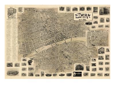 1901, Elmira  Bird's Eye View, New York, United States--Giclee Print