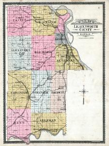 1903, Leavenworth County Outline Map, Kansas, United States