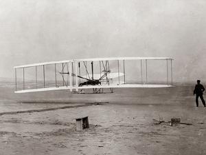 1903 Wright Brothers' Plane Taking Off at Kitty Hawk, North Carolina