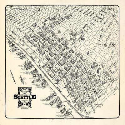 1904, Seattle Bird's Eye View of Business District, Washington, United States--Giclee Print
