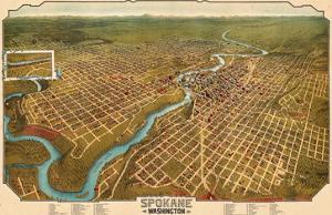 1905, Spokane Bird's Eye View, Washington, United States