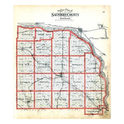 1907, County Outline Map, Nebraska, United States--Giclee Print