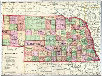 1907, State Map, Nebraska, United States--Giclee Print