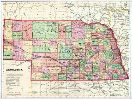 1907 State Map Nebraska United States Giclee Print By Artcom - Us-map-nebraska-state